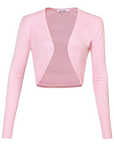 MUXXN Rétro manteau tricoté et casuel de femme des années 1950 aux manches longues pink