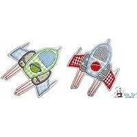Aufnäher Raumschiff - Patch - verschiedene Farben - 2 Größen erhältlich