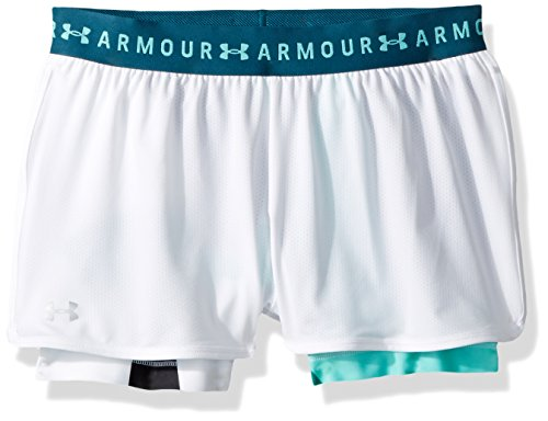 Under armour, hg armour 2 in 1 print short, pantaloncino, donna, bianco (white/tourmaline teal/metallic silver 101), m