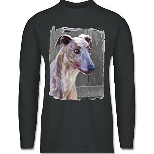 Hunde - Windhund - Longsleeve / langärmeliges T-Shirt für Herren Anthrazit