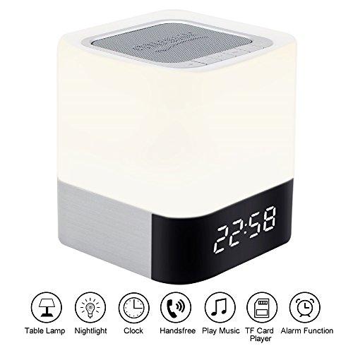 Svpro Wiederaufladbare LED Schreibtischlampen Bluetooth Drahtloser Lampe Lautsprecher, Berührungssensor Nachttischlampe Nachtlicht mit Musik-Player,Wecker,Zeitanzeige,Subwoofer Innenlampe