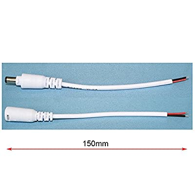 Red Sale® white 15cm male and female DC barrel jack 5.5mm x 2.1mm connector cable adapter, 1x pair
