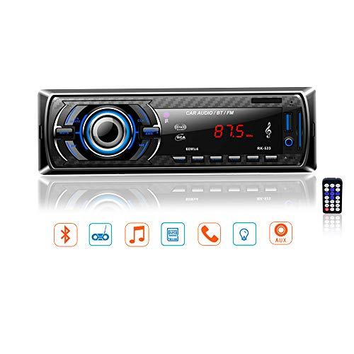 LSLYA Ricevitore audio stereo per auto Radio FM Riproduttore MP3 con Bluetooth USB / SD / AUX / MMC Singolo In-Dash Din con telecomando