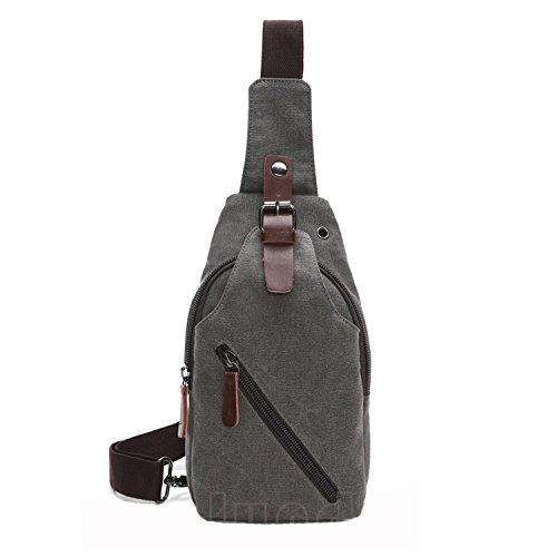 Outreo Herrentaschen Vintage Brusttasche Kleine Umhängetasche Herren Leder Schultertasche Sporttasche Messenger Taschen für Sport Reisetasche Retro Tasche Grau