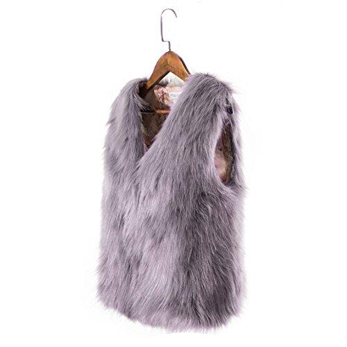 Gilet invernale donna cappotto corto Outwear abbigliamento cappotto elegante in finta pelliccia artificiale Slim senza maniche giacca gilet, Black, large Grey