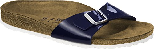 BIRKENSTOCK Damen Madrid Birko-Flor Pantoletten, Gr.-35 EU, Patent Dress Blau Patent Dress Sandal