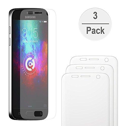 [3 Stück] cTRON21® Samsung Galaxy S7 Schutzfolie [Vollständige Abdeckung] [PET] Klar [Keine Bläschen] Displayschutzfolie (Crystal Clear Rakel)