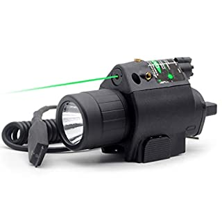 Trirock LED Flashlight Torch Light Combo with Pressure Switch & 20mm Picatinny Rail (Green)