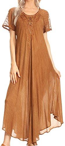a gesticktes Lace-Up Kaftan Kleid/Cover mit Ösen Ärmel - Kaffee - OS ()