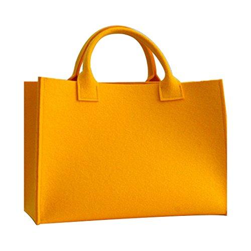 GWELL Hochwertige Filz Stoff Shopper Bag Henkeltasche Einkaufstasche Filzkorb Kaminholztasche Tragetasche Zeitungskorb orange