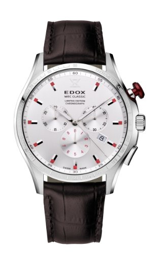 Edox Men's Wrc Classic Limited Edition 42.5mm Leather Band Steel Case Swiss Quartz Watch 10407 3A AIN