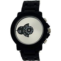 Softech Unisex Modern Rotating Dial Black Rubberised Bracelet Watch SE270