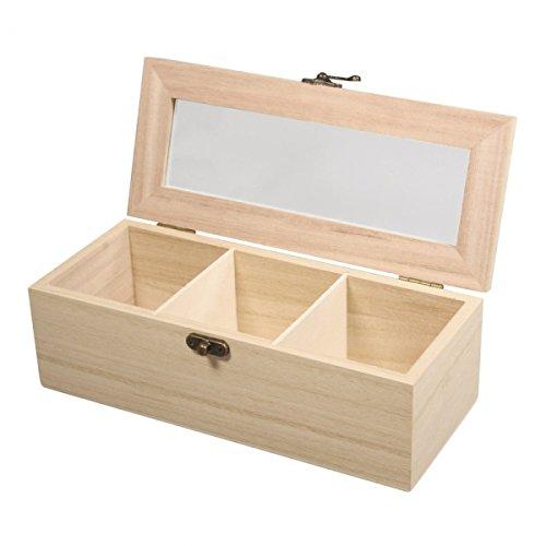 Rayher 62598000 Holz-Teebox, 21,5 x 9 x 7 cm, 3 Fächer, naturbelassen, mit Schwenkverschluss,...