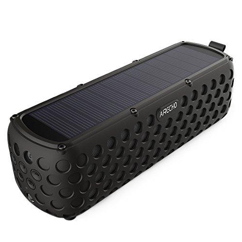 Airecho Solar Bluetooth Altavoz 30-Hour Playtime Dual-driver HD estéreo sin pérdida de audio portátil inalámbrico Bluetooth 4.0 Altavoz para el deporte al aire libre (a prueba de salpicaduras y a prueba de golpes)-Negro