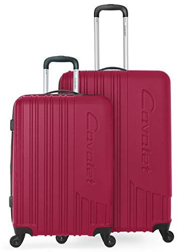 Cavalet Malibu - Reisekoffer Gepäck Set robuste Hartschale mit Erweiterung - Trolley 65 cm + großer Koffer 73 cm, ABS, TSA Schloss, Fuxia