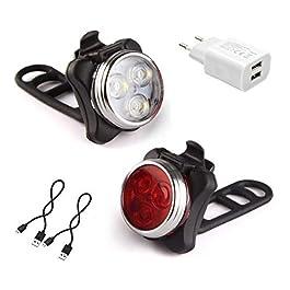 AMANKA Luci per Bicicletta, Set Luce Bici LED Light con 5V/2A Caricabatterie, 400LM, Luci Bici LED di Avvertimento Set…