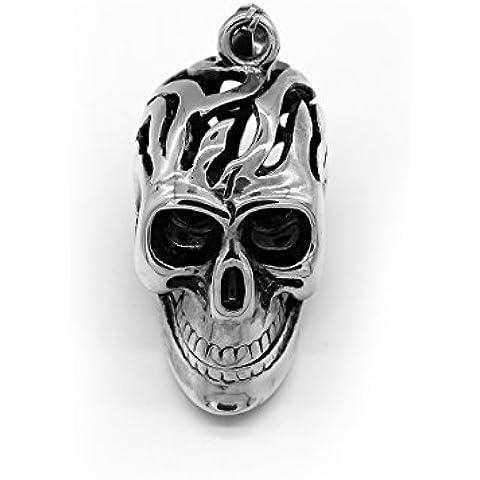 iconic Gotica maglione della catena della roccia punk antico del fiore placcato argento della collana del pendente del modello della collana della catena del pendente del cranio