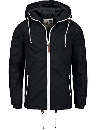 !Solid Herren Winter Jacke mit Kapuze Parka Mantel Regenjacke Softshelljacke Schwarz L