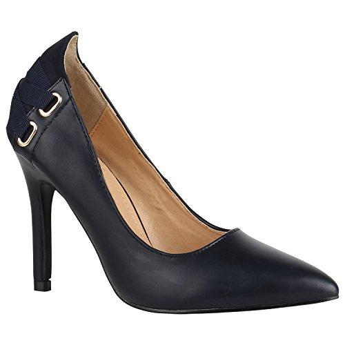 Stiefelparadies Spitze Damen Schuhe Pumps Lack High Heels Stilettos Klassische 156054 Dunkelblau Ösen 37 Flandell