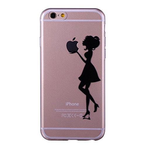iPhone 6 6S 4.7 Case TPU Gomma Morbida Trasparente Silicone Ultra Sottile Slim Disegno Personalizzato Cartoni Animati ZQ-Link® (Panda) Ragazza nera