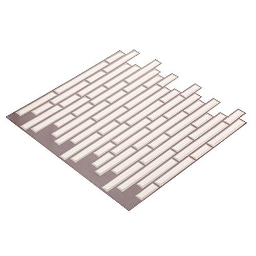 Wall Crafts® 3D Mosaik Fliesensticker selbstklebend 10 Stück für Küche Bad, Vinyl Fliesenfolie schwarz weiss grau Wandtattoo, 30,5 x 30,5cm Fliesen Aufkleber Folie Sticker Wanddeko