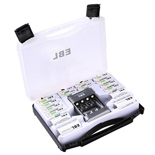 EBL Super Akku und Ladegerät Sets inkl. 1 * 40Min Schnell Akkuladegerät, 4*AAA Akkus, 8*AA Wiederaufladbare Batterien, 2*C/D Batterieadapter