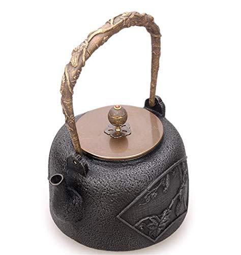 FJH Gusseisen Teekanne,Japanischer Art-unbeschichteter Handgemachter Tee-Kessel 1.2L 5008