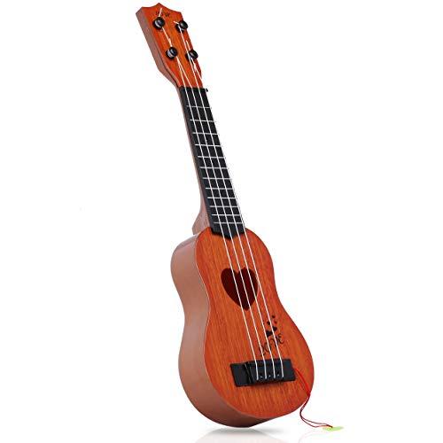Silverback Kinder Gitarren Ab 3 Jahre - Musikinstrument Ukulele Mit 4 Seiten - Spielzeug Gitarre - Anfänger Spielgitarre - Braun