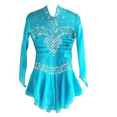 LVRXJP Eiskunstlauf-Kleid für Mädchen Eiskunstlauf-Kleid-handgemachte Wettbewerb-Kostüm-langärmliges Eislauf-Tüll-Blau, ()