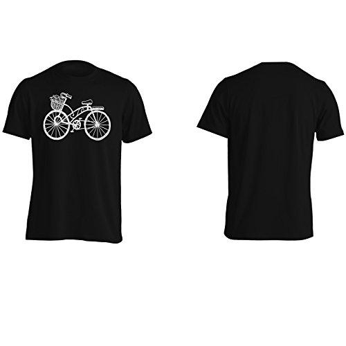Nuova Bicicletta Con Fiori Arte Uomo T-shirt m368m Black