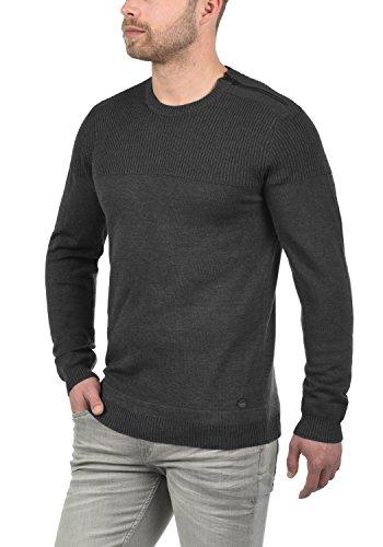 BLEND Franklin Herren Strickpullover Feinstrick Pullover mit Rundhals-Ausschnitt aus 100% Baumwolle Charcoal (70818)