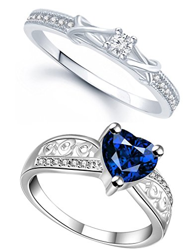 Lady touch Combo Of Blue Diamond Silver Platinum Plated Adjustable Rings For Girls & Women's (Set Of 2)_Free Size