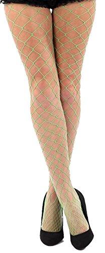 krautwear Damen Strumpfhose Offen Netzstrümpfe Halterlose Netz Straps Strümpfe Elegant Sexy Netzstrumpfhose Hoher Bund Schwarz Rot Weiss Neon Pink Grün Kostüm Fasching Karneval 80er (2145-grün)