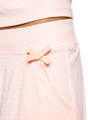 oodji Ultra Damen Baumwoll-Schlafanzug mit Druck Rosa (4041P)