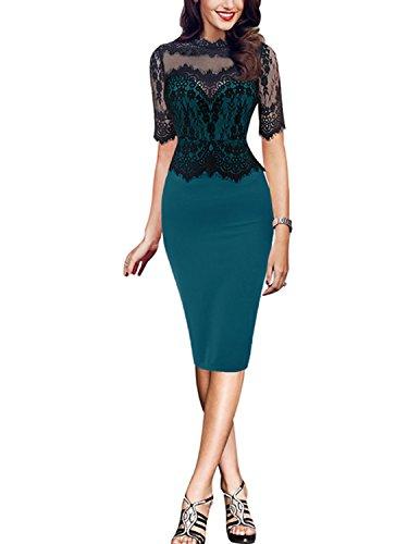 MODETREND Damen Bleistiftkleid Retro Spitze Slim 1/2 Ärmel Spleiß Festkleid Wickelkleid Abendkleid Sommerkleid Grün