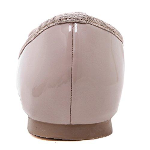 DQQ da donna, punta arrotondata, con fiocchetti-Scarpe da donna Beige (Pale Pinkish Grey)