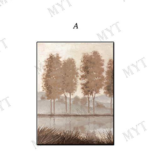 LFDYH Handgemalte wandkunst Bild Abstrakte vororte bäume Landschaft ölgemälde für Wohnzimmer wohnkultur ungerahmt 44x79 Zoll (110x200 cm Kein gestaltet