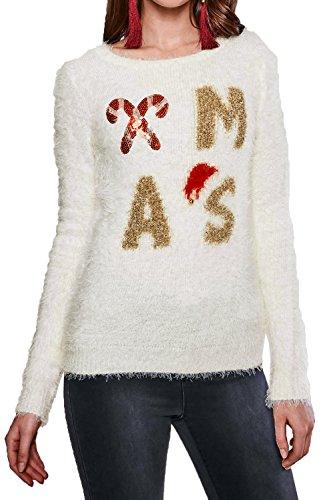 Damen Heart & Soul Pailletten 3D Weihnachten Wimper Strick Pullover Damen verziert Festliche Weihnachten TOP Jumble Jumper Xmas - Cream
