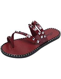 Damen Flip Flops Komfortabel Keil Sandalen Sommer Strand Reisen Dicker Boden Slipper,Red,35
