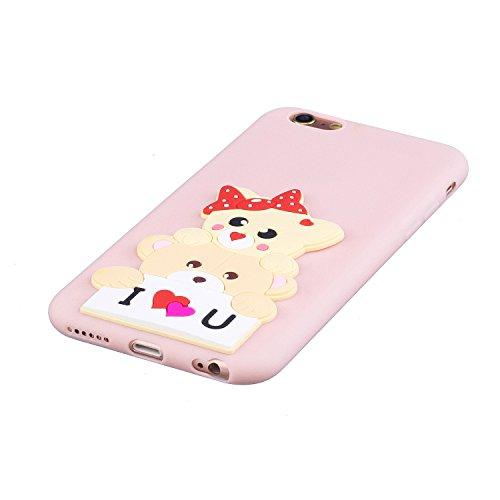 EUWLY Silicone Custodia per iPhone 6 Plus/iPhone 6s Plus (5.5), 3D Creativo Cute Cartoon Animale Solid Modello TPU Cover Case per iPhone 6 Plus/iPhone 6s Plus (5.5) Ultra Sottile Morbido Silicone TP Orso