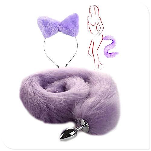 ieyol 2 Stück Plüschtier Katze Fuchsohren Stirnband Schwanz Set Weihnachten Halloween Party Cosplay Lila