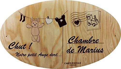 Décoration de Porte en bois pour une Chambre d'enfant - Le prénom de la plaque en bois est personnalisable - cadeau de naissance personnalisé - déco enfant & bébé (Pq Porte 6)