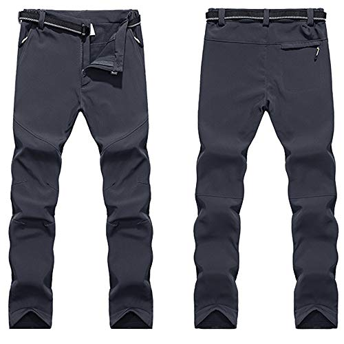 41a9FcV2rIL. SS500  - LY4U Men's Outdoor Winter Hiking Camping Hunting Climbing Trousers Water-resistant Soft Shell Fleece Lined Thicken Warm Wear-resisting Pants