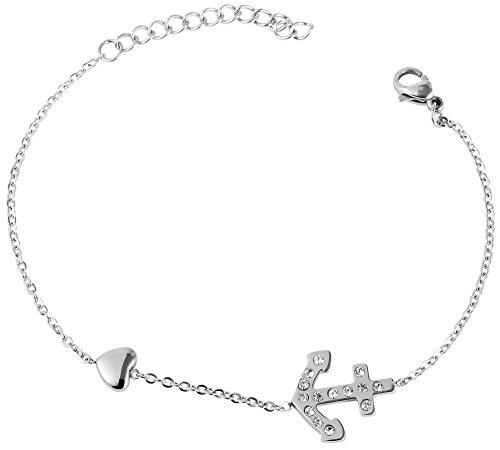 Akzent Damen Edelstahl glänzend Armband in Silberfarbig - Länge: 16 cm - Karabinerverschluss - Strass - Armschmuck - Armkette - 5030014-001
