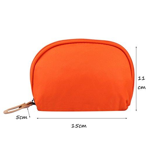 CLOTHES- Shell Cosmetic Bag viaggio semicircle lavare il pacchetto trasparente in PVC nichel borse donna sacchetto cosmetico ( Colore : Il blu scuro. ) Arancia