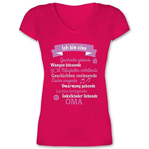 Geburtstag - Ich Bin eine Oma! - L - Fuchsia - XO1525 - Damen T-Shirt mit V-Ausschnitt