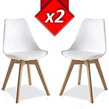 Pack 2 sillas Lucia Blanco, pata madera y asiento acolchado, estilo nórdico