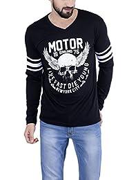 The Dry State Men's Cotton Black Bikers Full Sleeves Tshirt