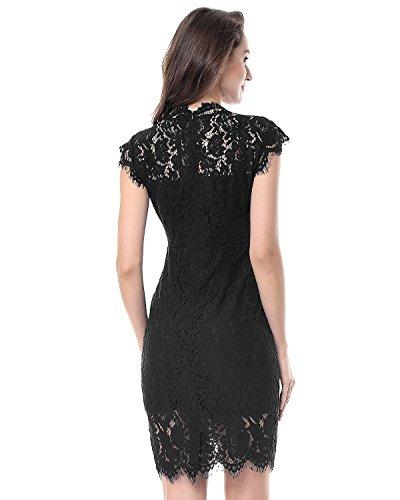 Kenancy Damen Elegant Cocktailkleid Ärmelloses Spitzen Partykleid Blumen Rundhals Knielang Kleid Schwarz