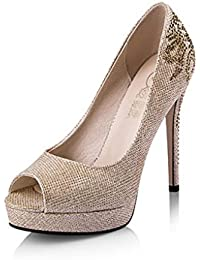 CJC Sandalias de Tacón Alto Zapatos Abiertos de Tacón Alto Tacones Altos de  Diamantes de Imitación d4a4f337977a